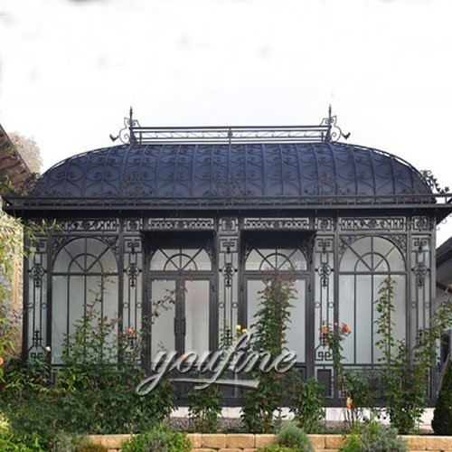 Outdoor large wrought iron screened metal roof gazebo for sale