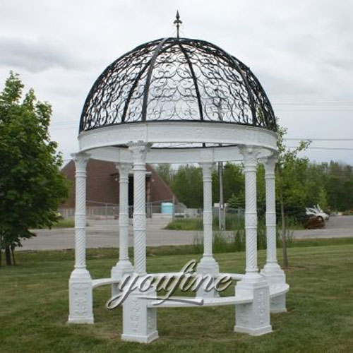 Buying outdoor White marble gazebo for garden decorBuying outdoor White marble gazebo for garden decor