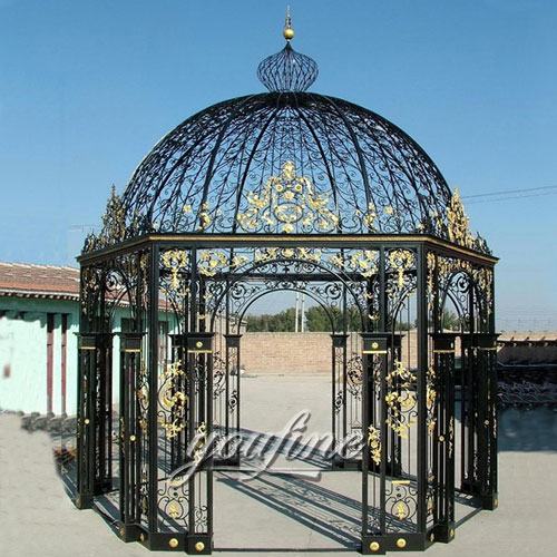 Outdoor large round wrought iron screened metal roof gazebo for sale
