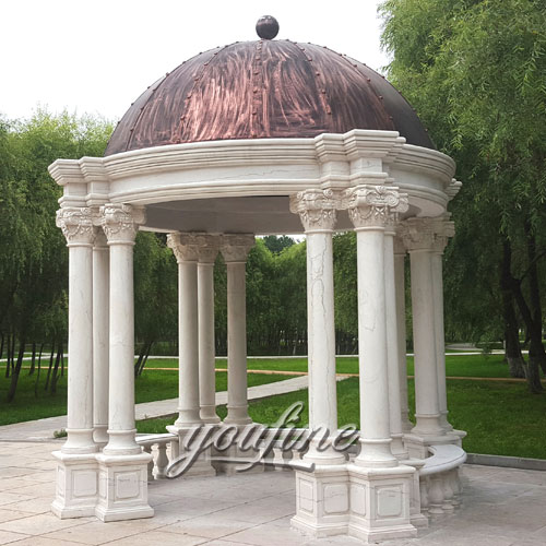 Factory supply simple marble gazebo for garden decoration on stock