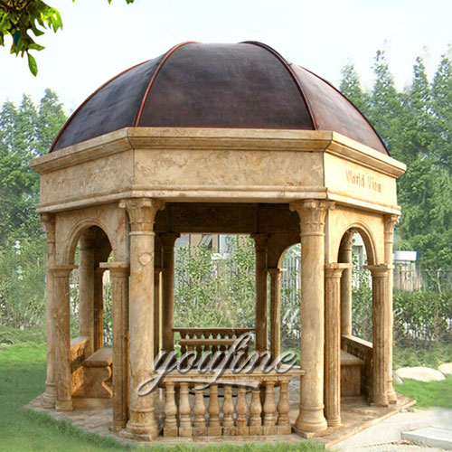 Hot sale marble pavilion gazebo for garden in beige marble