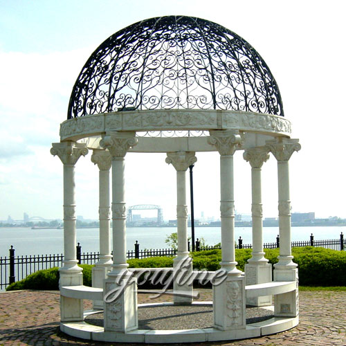 Western Style natural marble gazebo for sale