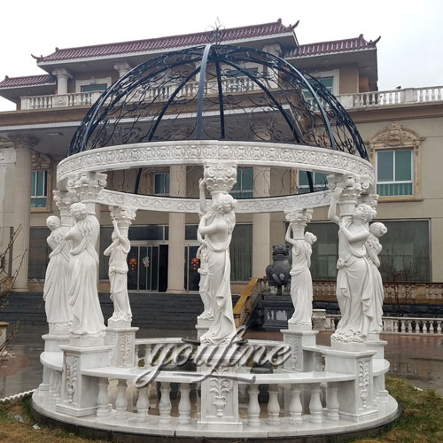White marble gazebo with lady statue carving for garden decor