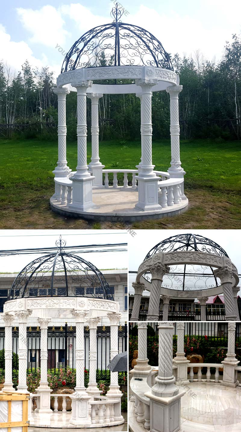 Popular classical design Stone marble white gazebo for backyard decor